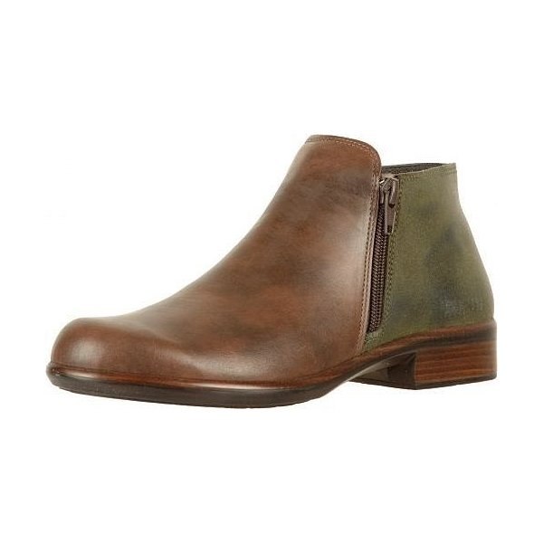 Naot ナオト レディース 女性用 シューズ 靴 ブーツ アンクルブーツ ショート Helm - Pecan Brown Leather/Oily Olive Suede