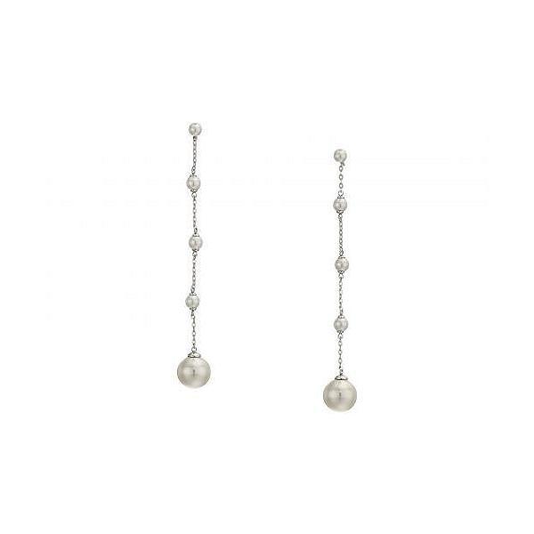 Majorica マジョリカ レディース 女性用 ジュエリー 宝飾品 イヤリング Rosa 5-12mm White Round Pearl & CZ Sterling Silver Linear Earrings - White