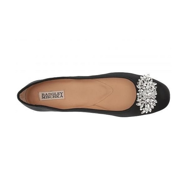 Badgley Mischka バッジリーミシュカ レディース 女性用 シューズ 靴 フラット Pippa - Black Satin