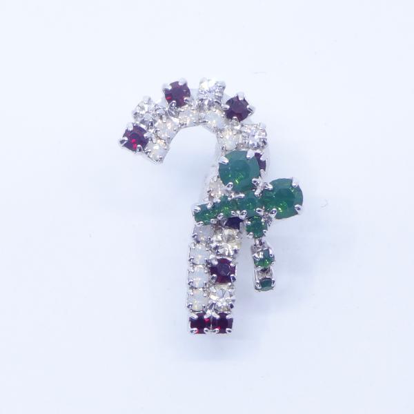 (イマック) imac バッジ ラインストーン ステッキ クリスマス 杖 ホワイト レッド グリーン 143166 imac-jewelry