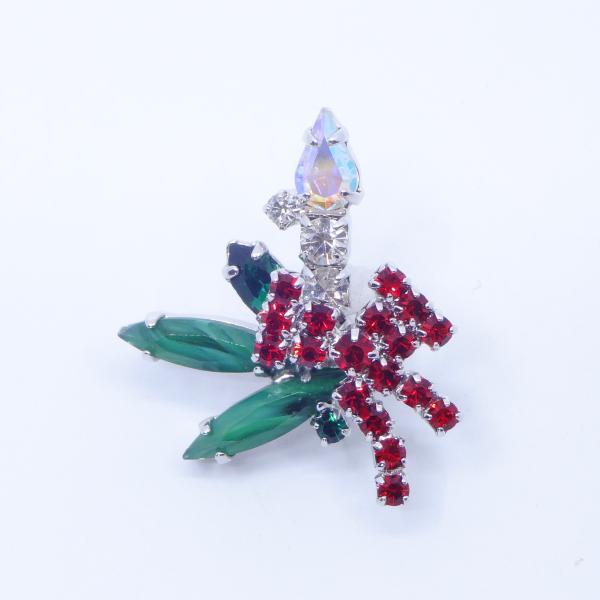 (イマック) imac バッジ ラインストーン キャンドル クリアカラー レッド グリーン 149005|imac-jewelry