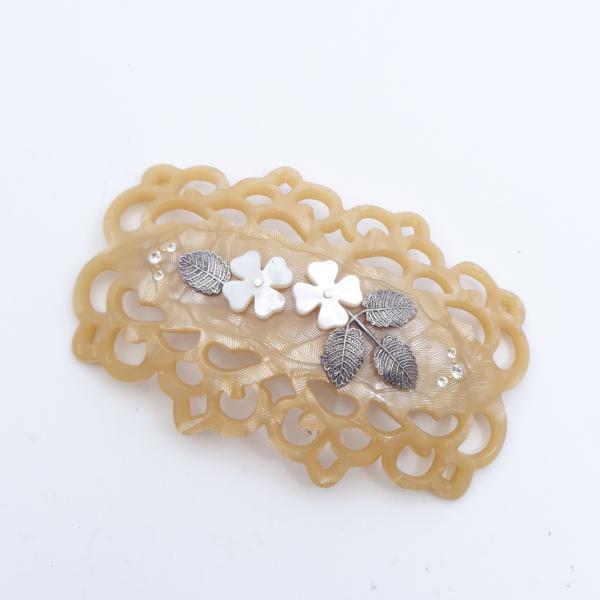 (イマック) imac ヘアバレッタ 白蝶貝 ベージュ ホワイト フラワー 149771|imac-jewelry
