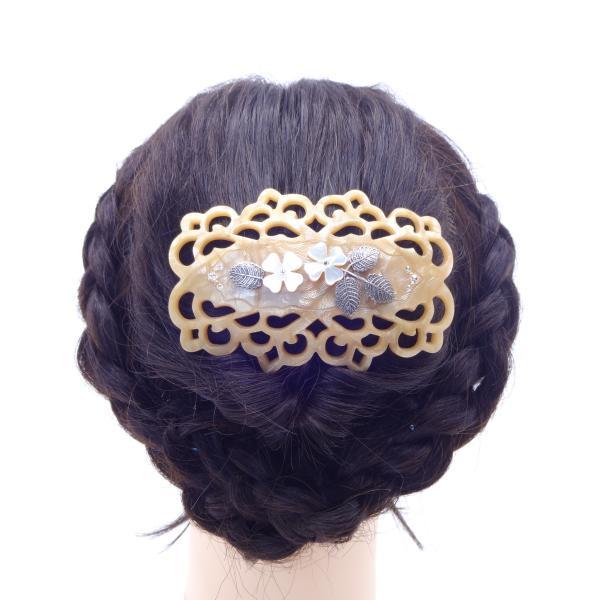 (イマック) imac ヘアバレッタ 白蝶貝 ベージュ ホワイト フラワー 149771|imac-jewelry|03
