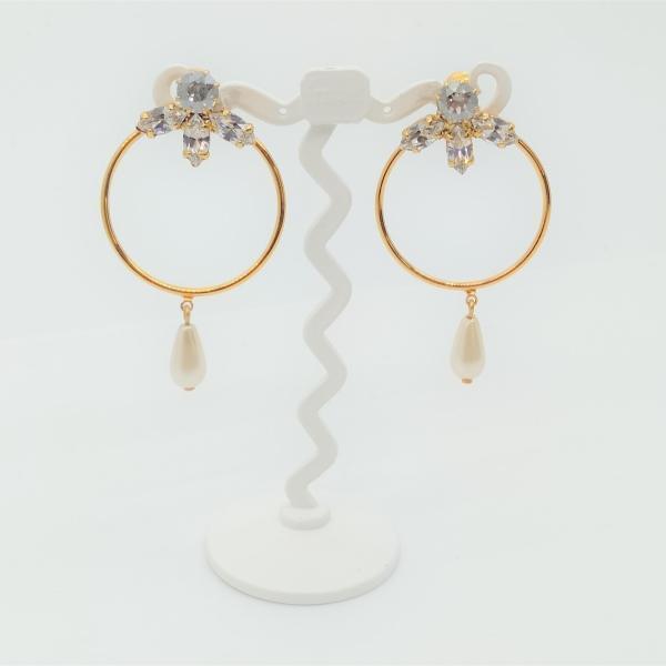 (イマック) imac イヤリング ラインストーン パール ゴールド 149838|imac-jewelry