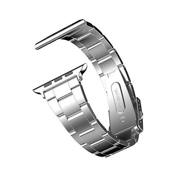 JEDirect Apple Watch 用バンド 42mm と 44mm Series 1 2 3 4対応 ステンレス留め金製 シルバー|imagine-store
