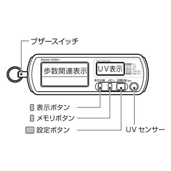 歩数計:UVチェッカー&非常用ブザーつき歩数計「リズムウォーカー」〜〒郵送可¥320|imanando|03