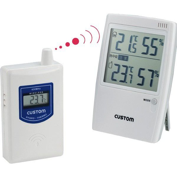 ワイヤレス温湿度計:熱中症警告付き無線温度計HI-01RF〜送料無料|imanando|02