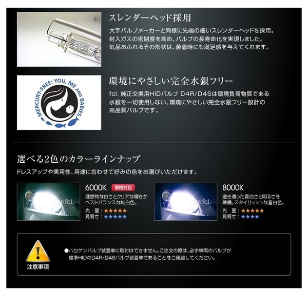 fcl HIDバルブ D4R D4S 2個1セット 6000K/8000K 当店人気商品|imaxsecond|12