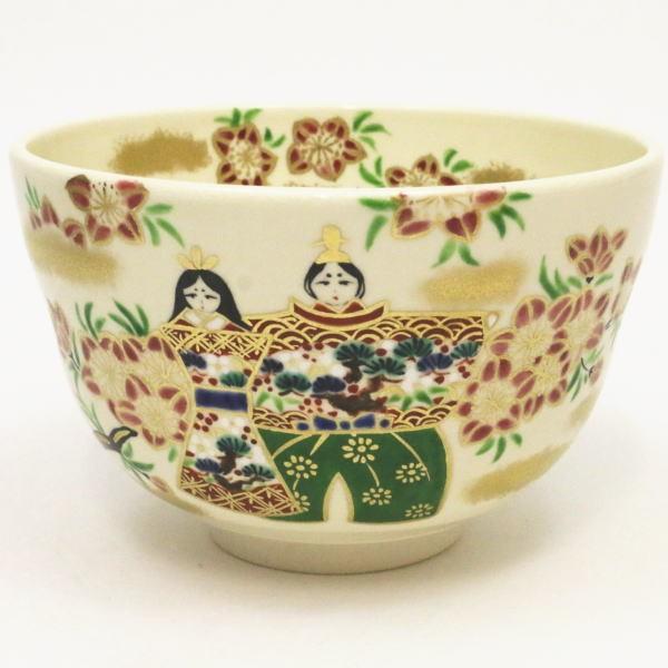 茶道具 抹茶茶碗 ひな祭り 色絵茶碗 立雛 今岡都作 雛祭り ひなまつり 桃の節句