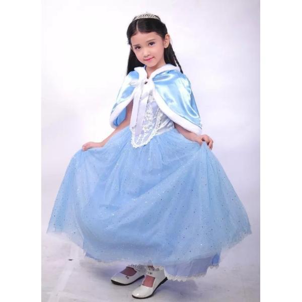 68289ce65ba04 シンデレラ 風 プリンセス ドレス マント付き コスプレ 衣装 子供 こども用 女の子 子供用 ティアラ セット ...