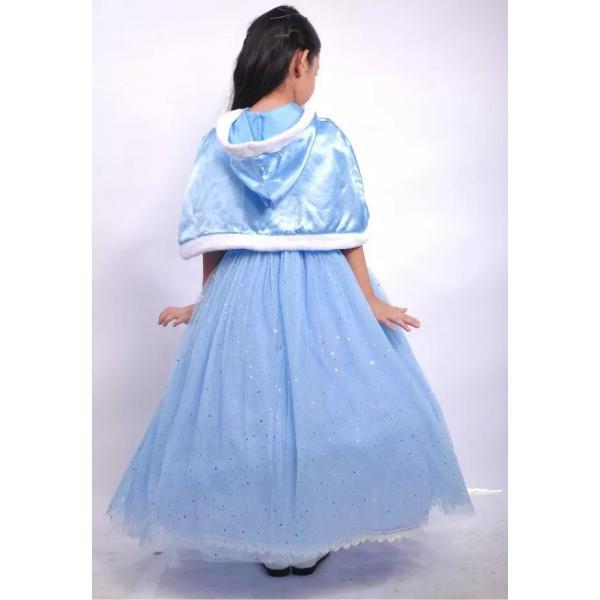 5110498bcde99 ... シンデレラ 風 プリンセス ドレス マント付き コスプレ 衣装 子供 こども用 女の子 子供用 ティアラ セット ...
