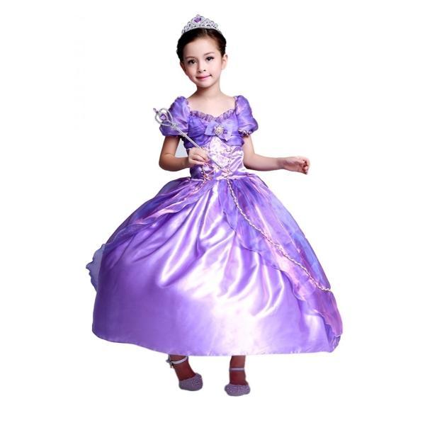 753b1b202ca5f ラプンツェル 風 ロング ドレス コスプレ 衣装 子供 こども用 女の子 4層構造ふんわり お姫様 なりきり ...