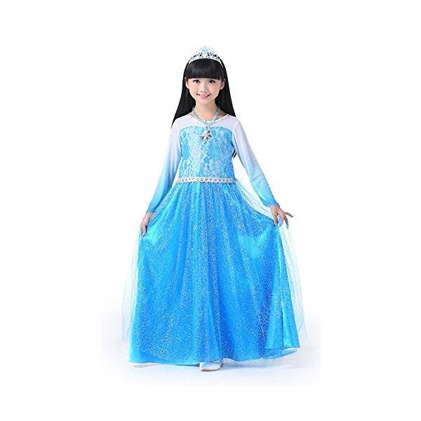 df46256f0c3b8 アナと雪の女王 エルサ 風 ロングドレス コスプレ 衣装 子供 こども用 女の子 グラデーション ...