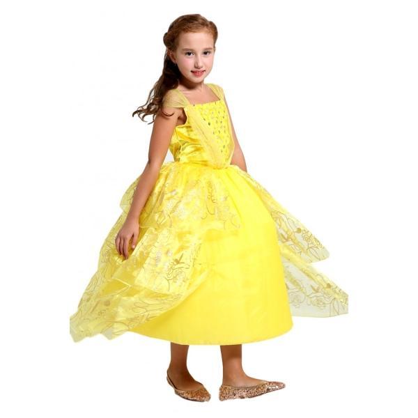 37c2fe7cd60c5 美女と野獣 ベル 風 ロング ドレス コスプレ 衣装 子供 女の子 薔薇スパンコール しっかり3層 ...
