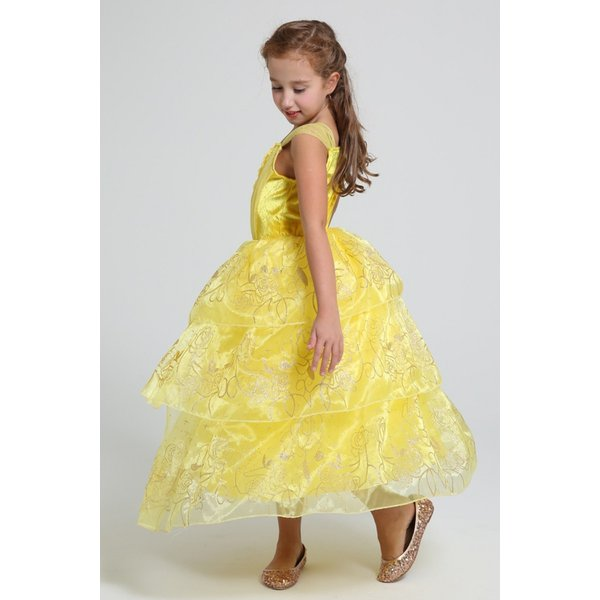 6a8c0975b873b ... 美女と野獣 ベル 風 ロング ドレス コスプレ 衣装 子供 女の子 薔薇スパンコール しっかり3層 ...