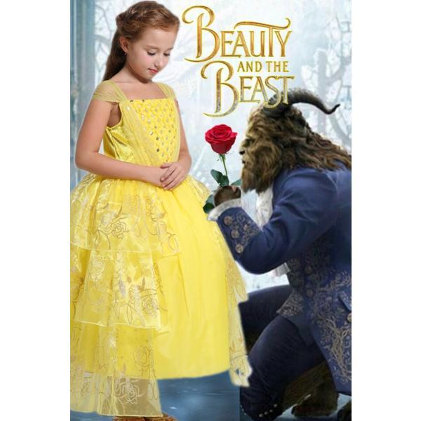1c81592c0ff81 ... 美女と野獣 ベル 風 ロング ドレス コスプレ 衣装 子供 女の子 薔薇スパンコール しっかり3層
