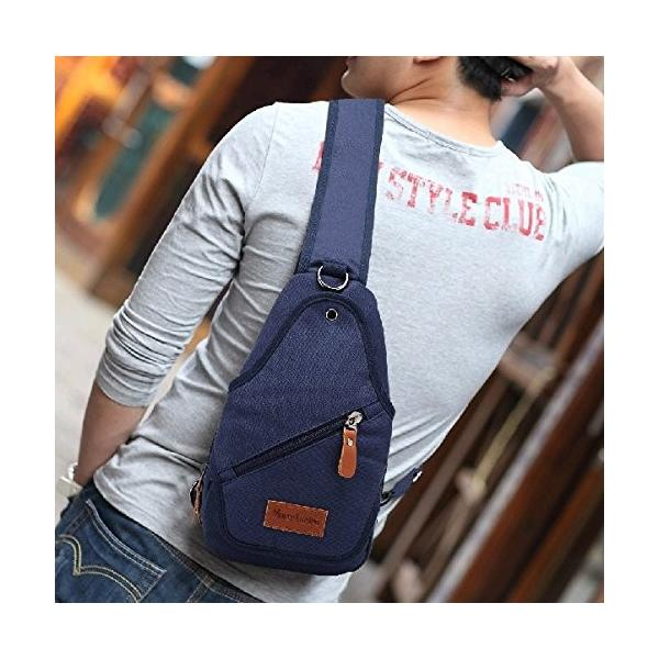 ショルダーバッグ  ボディバッグ メンズ  鞄 丈夫  キャンバス MB-015(ブルー)