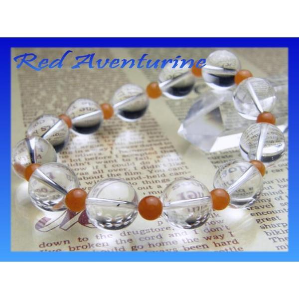 レッドアベンチュリン&水晶デザインブレスレット 天然石 パワーストーン