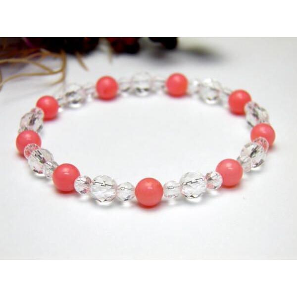 パワーストーン 【6mm_Simple_Designブレスレット】 ピンク珊瑚 数珠 ブレスレット 風水 パワーストーン