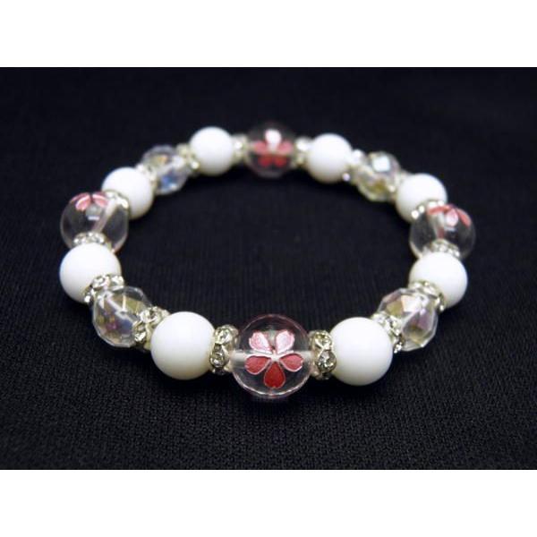 ピンク彫り桜水晶10mm×64面カットオーロラクォーツ8mm×ホワイトオニキス8mmブレスレット レディース 女性用 天然石 風水 パワーストーン