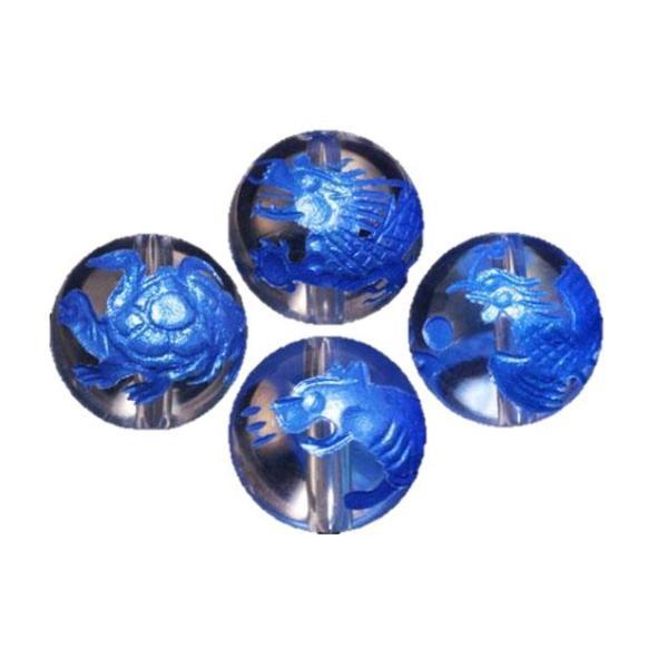 水晶(ブルー色入り)四神獣手彫り玉セット 彫刻ビーズ 10mm玉 青龍・朱雀・白虎・玄武 天然石 パワーストーン