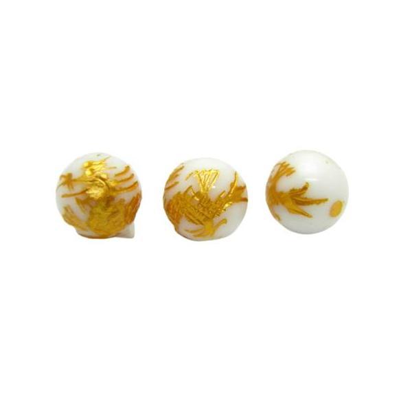 青龍(ホワイトオニキス)10mm 金彫り【彫刻 一粒売りビーズ】天然石 パワーストーン