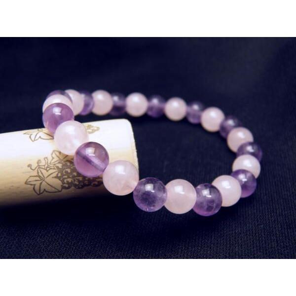 【8mm_Simple_Combiブレスレット】 ローズクォーツ&アメジスト レディース&メンズ ギフトに最適 数珠 ブレスレット 天然石 風水 パワーストーン