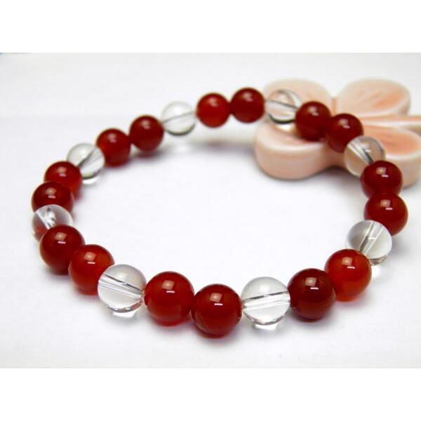 ペアブレスレット パワーストーン レッドメノウ&ブルーメノウ メンズ/レディース 天然石の数珠(腕輪念珠) ブレスレット ギフトにも最適 ペア使用も 厄除け/お