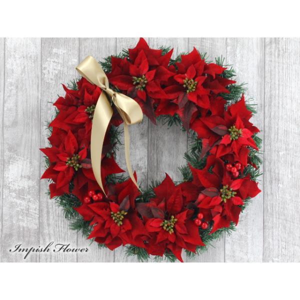クリスマスリース 造花 40cm クリスマス リース  壁掛け アートフラワー   W-169|impish