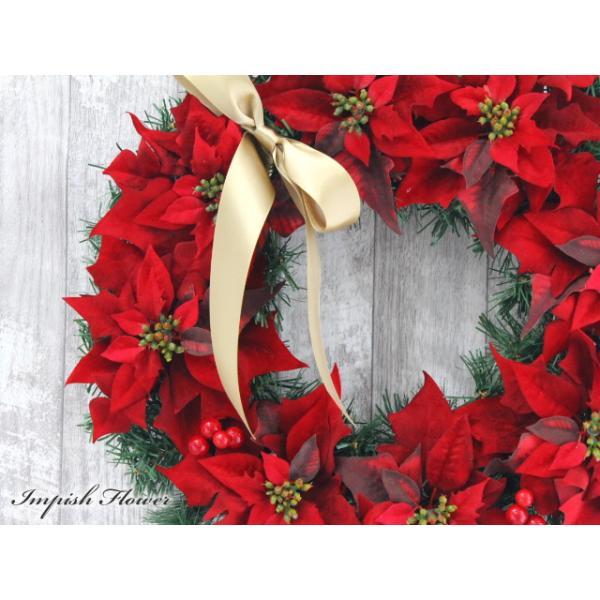 クリスマスリース 造花 40cm クリスマス リース  壁掛け アートフラワー   W-169|impish|02