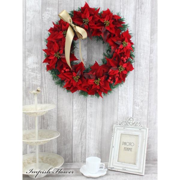 クリスマスリース 造花 40cm クリスマス リース  壁掛け アートフラワー   W-169|impish|03