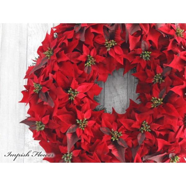クリスマスリース 60cm 造花 クリスマス リース  ポインセチア 壁掛け アートフラワー   W-172|impish|02
