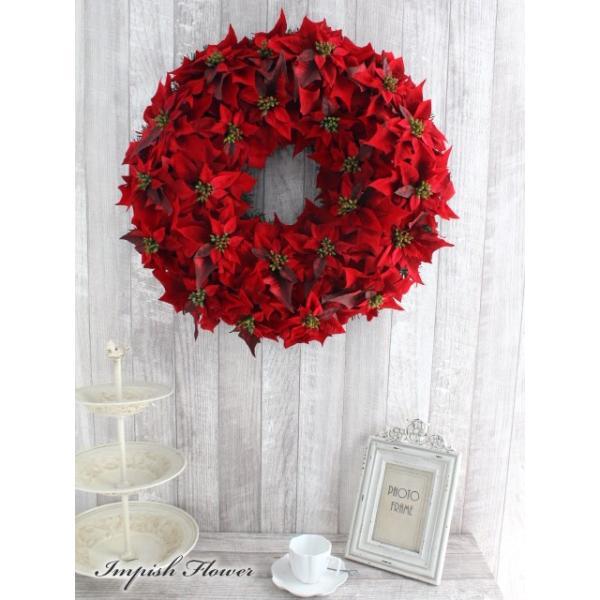クリスマスリース 60cm 造花 クリスマス リース  ポインセチア 壁掛け アートフラワー   W-172|impish|03