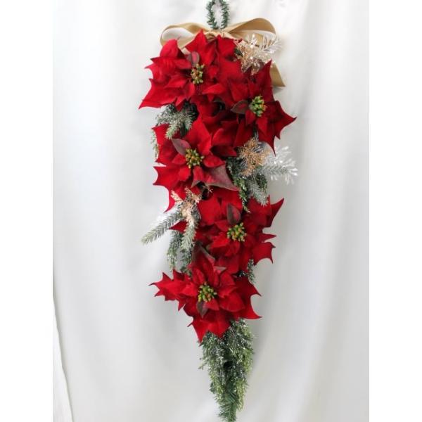 クリスマスリース 玄関 おしゃれ 造花 ポインセチア スワッグ   W-372|impish