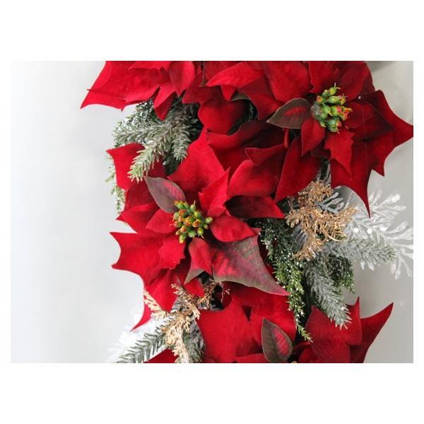 クリスマスリース 玄関 おしゃれ 造花 ポインセチア スワッグ   W-372|impish|02