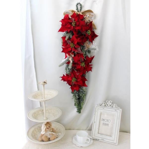 クリスマスリース 玄関 おしゃれ 造花 ポインセチア スワッグ   W-372|impish|03
