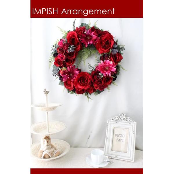 造花 リース アートフラワー  壁掛け シルクフラワー アレンジメント  W-453|impish|03