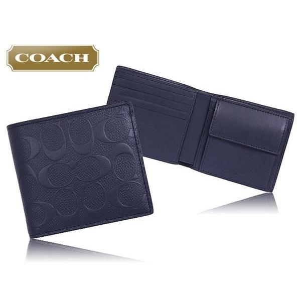 094f20cd0cfa ... コーチ COACH 財布 二つ折り財布 F75363 ミッドナイトネイビー デボスド シグネチャー クロスグレーンレザー コイン ウォレット  ...