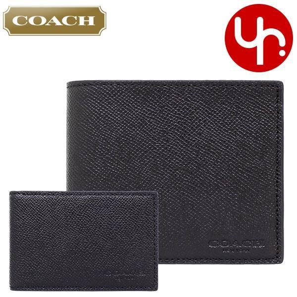 コーチ COACH 財布 二つ折り財布 F59112 3IN1 クロスグレーン レザー コンパクト ID ウォレット アウトレット メンズ import-collection-yr 21