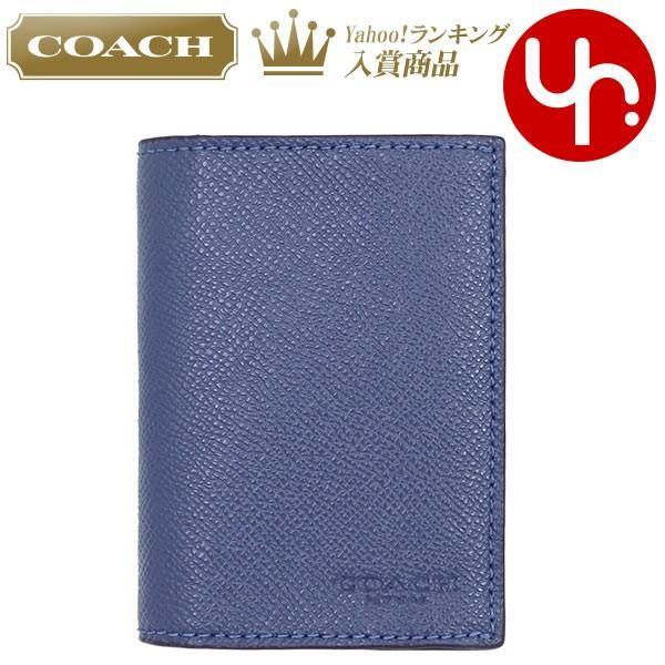 768e2ce92aff コーチ COACH 小物 カードケース F86763 ダークデニム ラグジュアリー クロスグレーン レザー ビルフォード カード ケース ...
