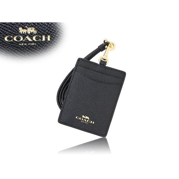 f0ddf85ef427 ... コーチ COACH 小物 カードケース F57311 ブラック ラグジュアリー クロスグレーン レザー ランヤード ID ケース アウトレット  レディース ...