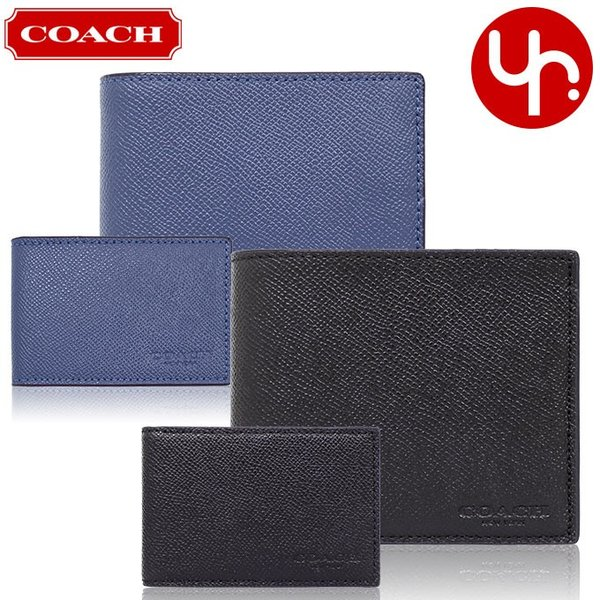 コーチ COACH 財布 二つ折り財布 F59112 3IN1 クロスグレーン レザー コンパクト ID ウォレット アウトレット メンズ import-collection-yr