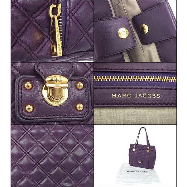 【5時間限定ポイント10倍】マーク ジェイコブス Marc Jacobs バッグ トートバッグ C382024 60095 パープル×ゴールド 前ファスナーポケット付きキルティングトー