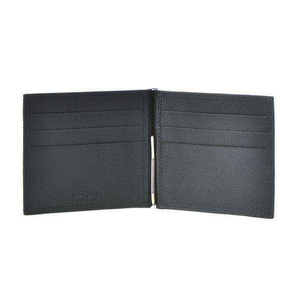 d889b0f807d9 ... ブルガリ/BVLGARI 財布 メンズ グレインレザー マネークリップ 2つ折り財布 ブラック 36333-0003-