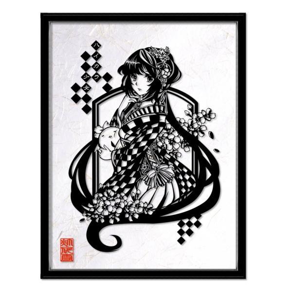 灯夜雪「ハイカラ少女」 切り絵アート 額付き A3サイズ|importedstickers