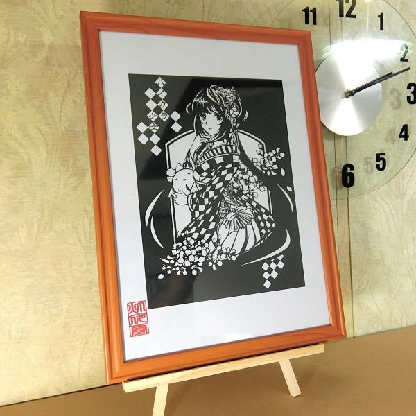 灯夜雪「ハイカラ少女」 切り絵アート 額付き B4サイズ|importedstickers|02
