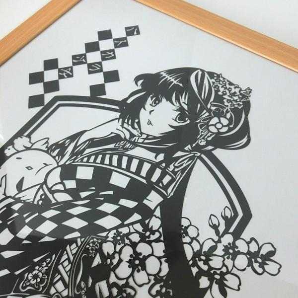 灯夜雪「ハイカラ少女」 切り絵アート 額付き B4サイズ|importedstickers|03