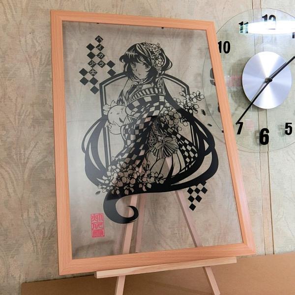 灯夜雪「ハイカラ少女」 切り絵アート 額付き B4サイズ|importedstickers|04