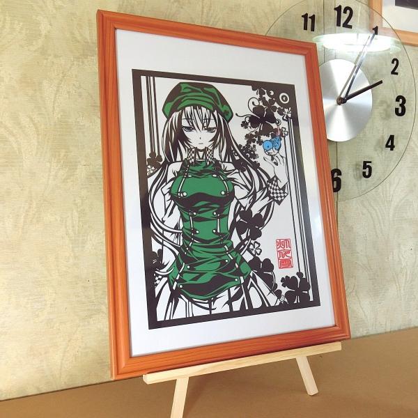 灯夜雪 「少女とことり」 オリジナル作品 切り絵アート 額付き A3サイズ importedstickers 03