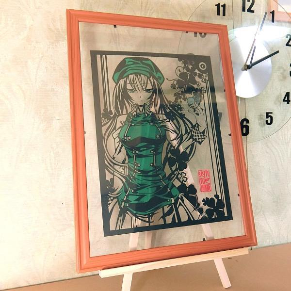 灯夜雪 「少女とことり」 オリジナル作品 切り絵アート 額付き A3サイズ importedstickers 04